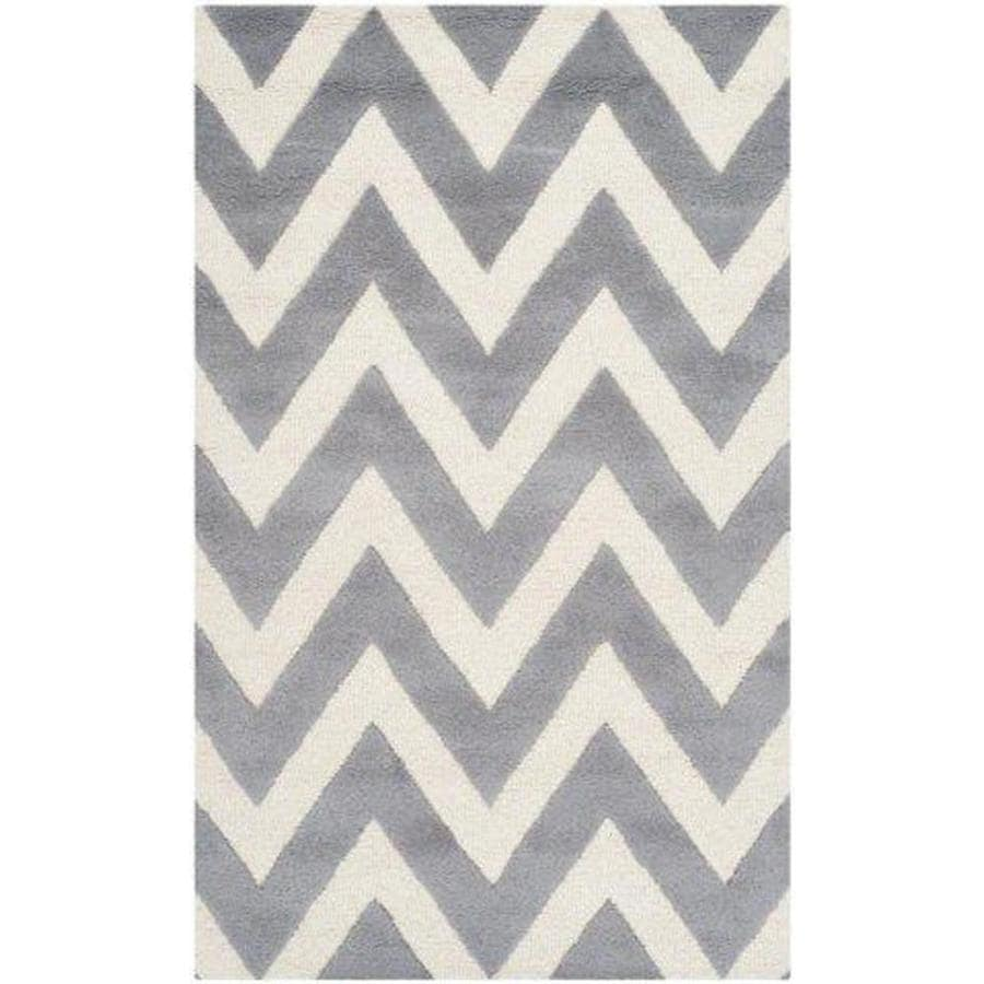 Safavieh Cambridge Silver/Ivory Rectangular Indoor Handcrafted Moroccan Area Rug (Common: 4 X 6; Actual: 4-ft W x 6-ft L)