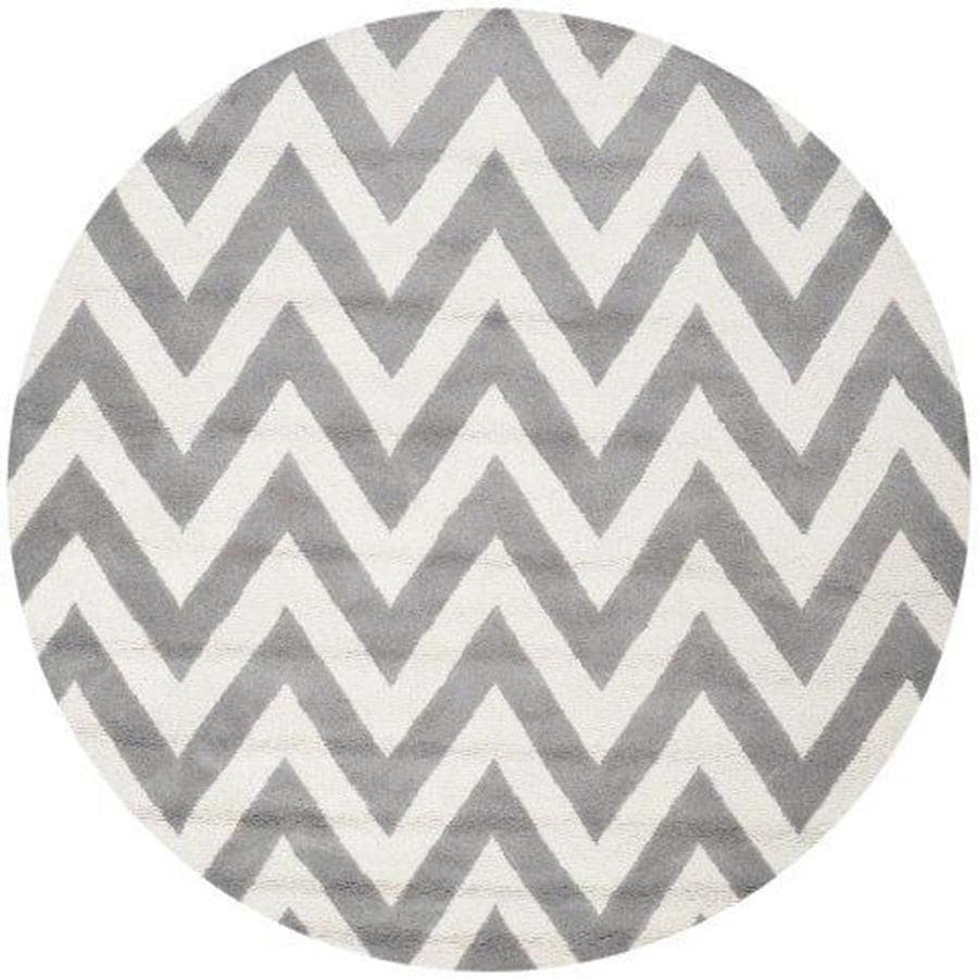 Safavieh Cambridge Silver and Ivory Round Indoor Tufted Area Rug (Common: 6 x 6; Actual: 72-in W x 72-in L x 0.5-ft Dia)