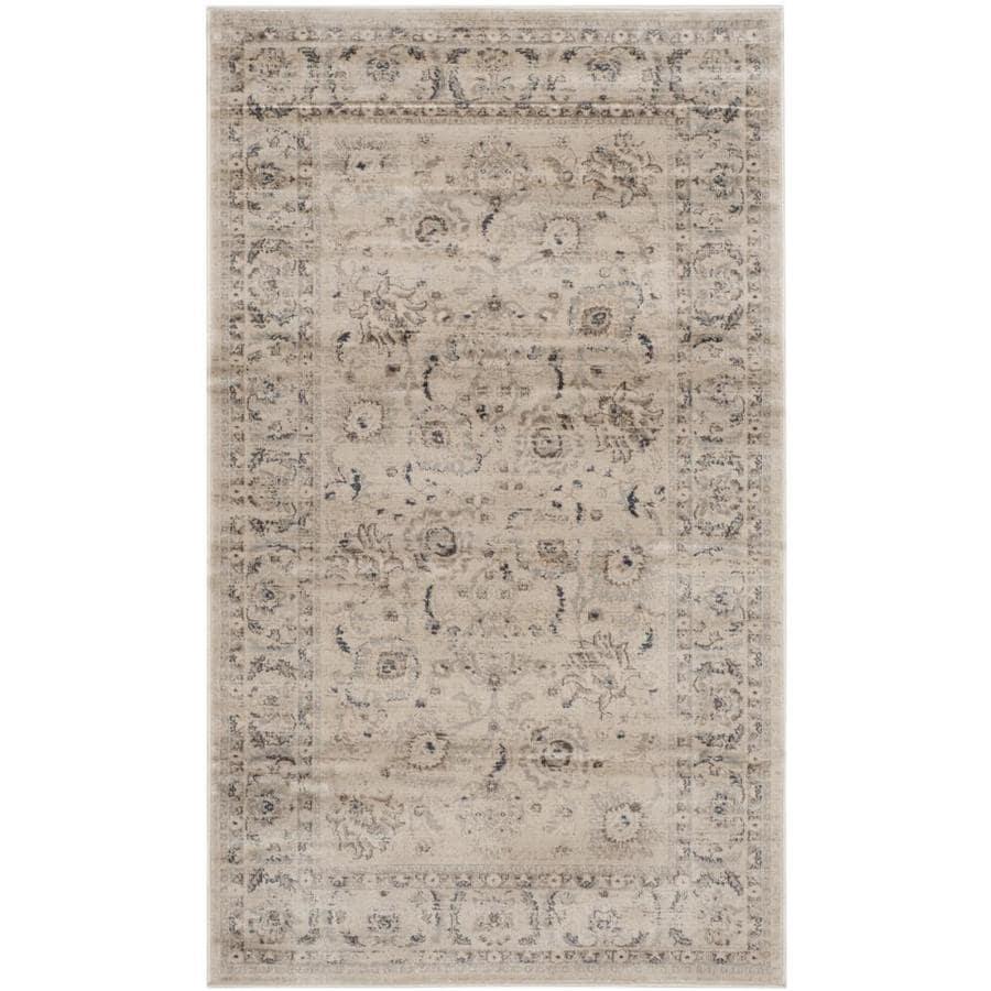 Safavieh Vintage Tabriz Light Gray/Ivory Rectangular Indoor Machine-made Distressed Area Rug (Common: 4 x 6; Actual: 4-ft W x 5.6-ft L)