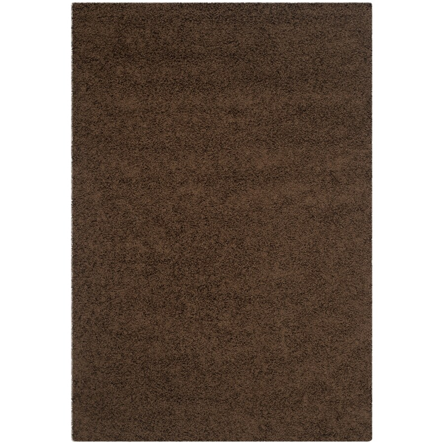 Safavieh Athens Shag Brown Rectangular Indoor Machine-made Moroccan Area Rug (Common: 5 x 7; Actual: 5.1-ft W x 7.5-ft L)