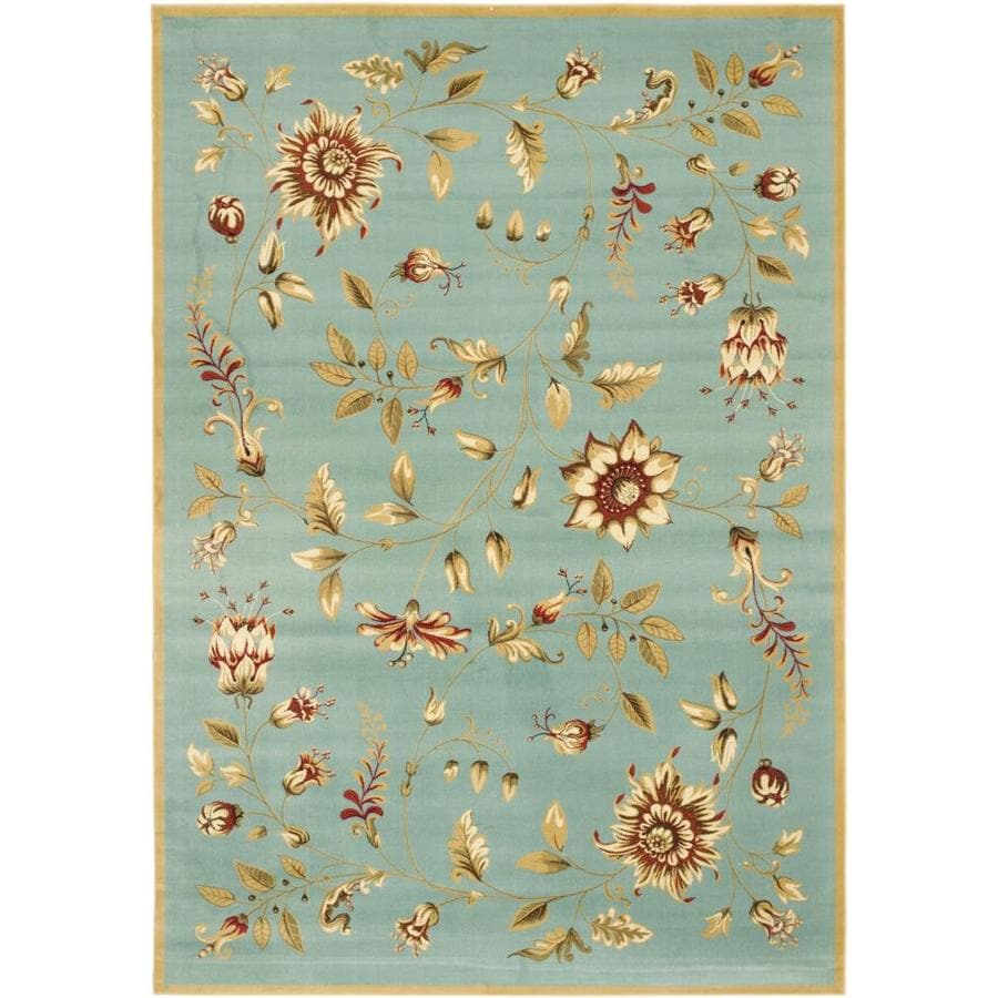 Safavieh Lyndhurst Floral Swirl Blue Indoor Nature Area Rug (Common: 8 x 11; Actual: 8-ft W x 11-ft L)