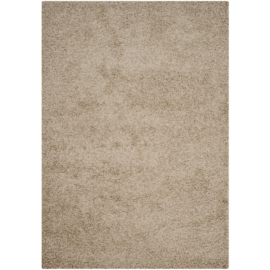 Safavieh Athens Shag Beige Rectangular Indoor Machine-made Moroccan Area Rug (Common: 5 x 7; Actual: 5.1-ft W x 7.5-ft L)
