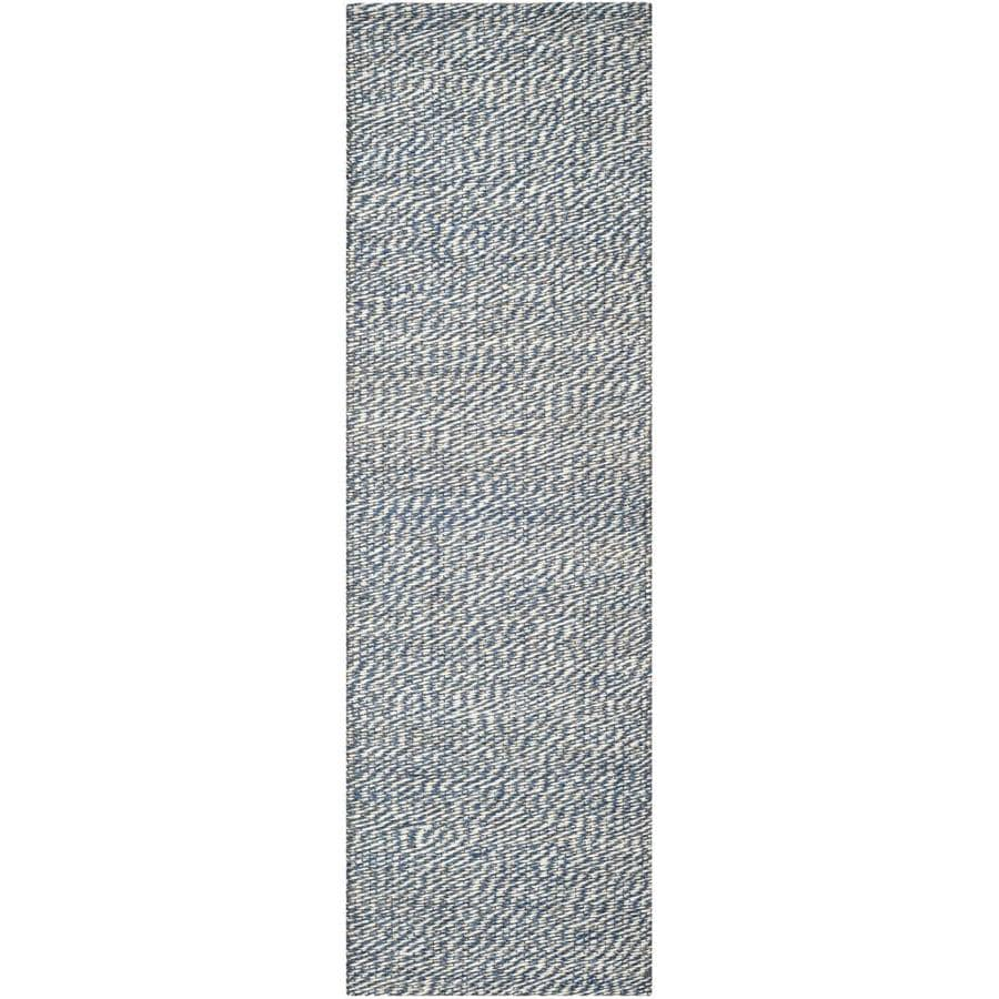 Safavieh Natural Fiber Nassau Blue/Ivory Indoor Handcrafted Coastal Runner (Common: 2 x 12; Actual: 2.5-ft W x 12-ft L)