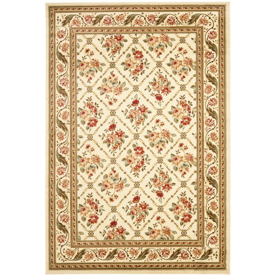 Safavieh Lyndhurst Floral Lattice Ivory/Ivory Rectangular Indoor Machine-made Oriental Area Rug (Common: 5 x 7; Actual: 5.25-ft W x 7.5-ft L)