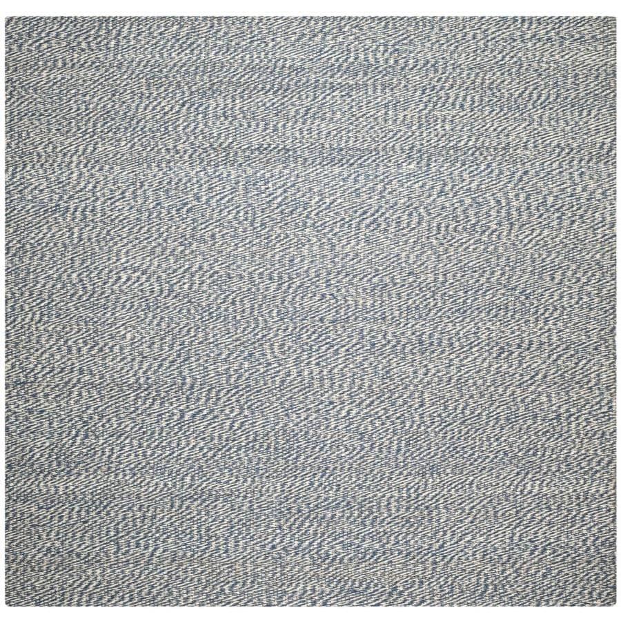 Safavieh Natural Fiber Nassau Blue/Ivory Square Indoor Handcrafted Coastal Area Rug (Common: 8 x 8; Actual: 8-ft W x 8-ft L)