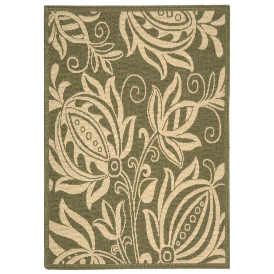 Safavieh Courtyard Blossums Olive/Natural Rectangular Indoor/Outdoor Machine-made Coastal Throw Rug (Common: 2 x 5; Actual: 2.58-ft W x 5-ft L)