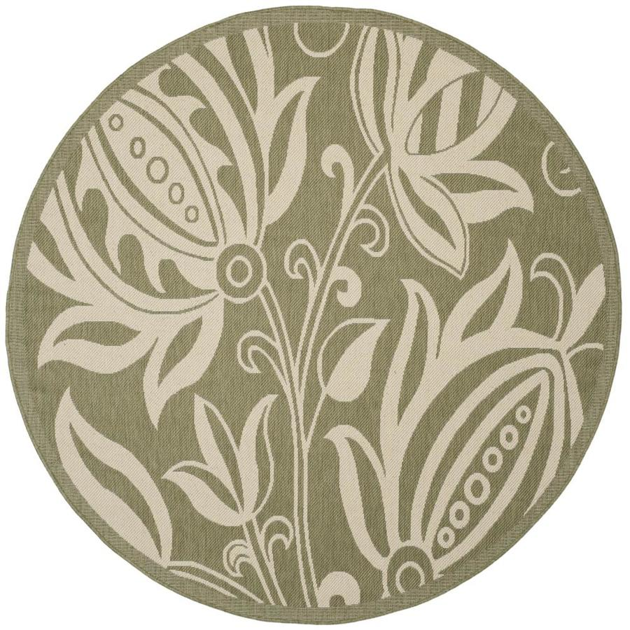 Safavieh Courtyard Olive/Natural Round Indoor/Outdoor Machine-Made Coastal Area Rug (Common: 5 x 5; Actual: 5.25-ft W x 5.25-ft L x 5.25-ft Dia)