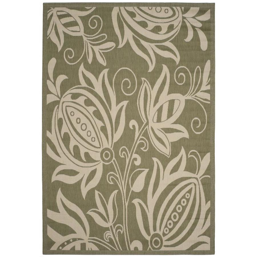 Safavieh Courtyard Blossums Olive/Natural Indoor/Outdoor Coastal Area Rug (Common: 7 x 9; Actual: 6.7-ft W x 9.5-ft L)