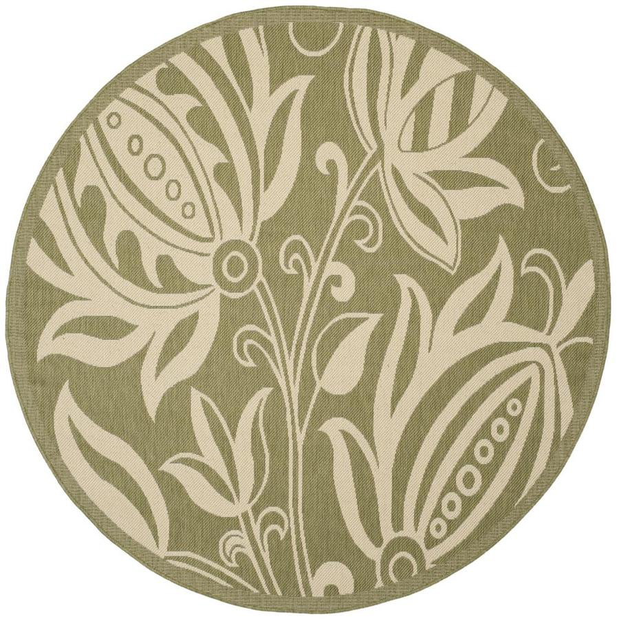 Safavieh Courtyard Blossums Olive/Natural Round Indoor/Outdoor Machine-made Coastal Area Rug (Common: 6 x 6; Actual: 6.58-ft W x 6.58-ft L x 6.5833-ft Dia)