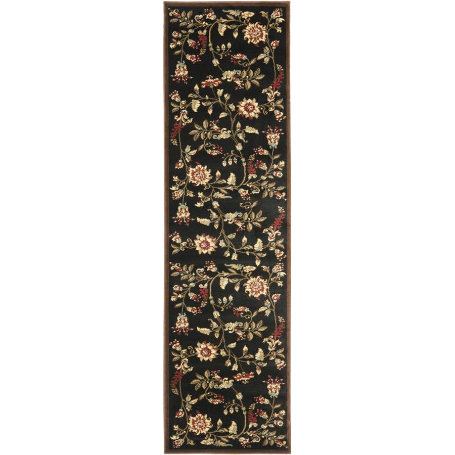 Safavieh Lyndhurst Floral Swirl Black Indoor Nature Runner (Common: 2 x 8; Actual: 2.25-ft W x 8-ft L)