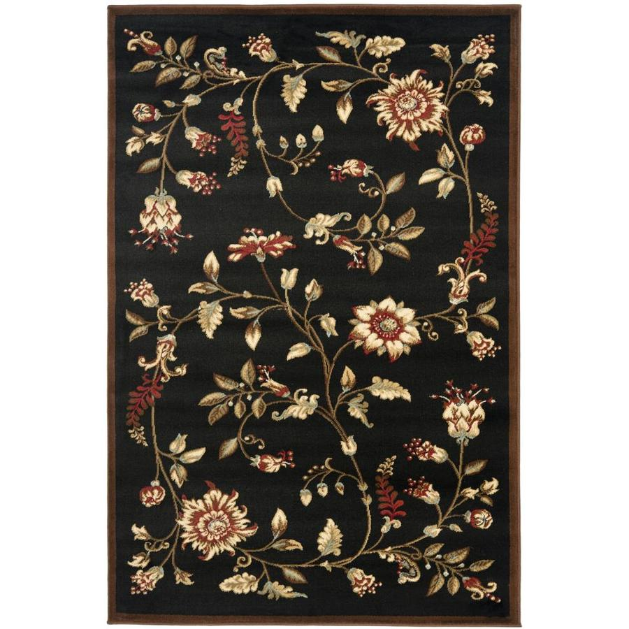 Safavieh Lyndhurst Floral Swirl Black/Multi Rectangular Indoor Machine-made Nature Throw Rug (Common: 3 x 5; Actual: 3.25-ft W x 5.25-ft L)