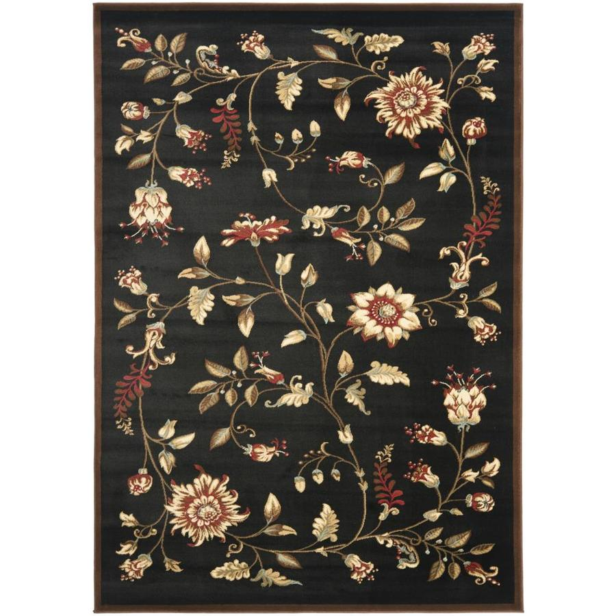 Safavieh Lyndhurst Floral Swirl Black/Multi Rectangular Indoor Machine-made Nature Area Rug (Common: 5 x 7; Actual: 5.25-ft W x 7.5-ft L)