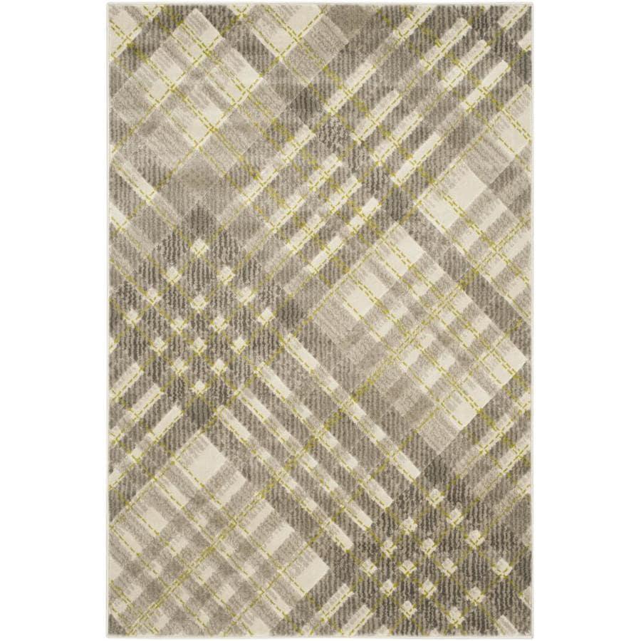 Safavieh Porcello Plaids Gray/Dark Gray Rectangular Indoor Machine-made Area Rug (Common: 4 x 6; Actual: 4.083-ft W x 6-ft L)