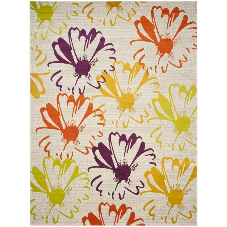 Safavieh Porcello Daisy Gray/Purple Rectangular Indoor Machine-made Nature Area Rug (Common: 8 x 11; Actual: 8.167-ft W x 11-ft L)