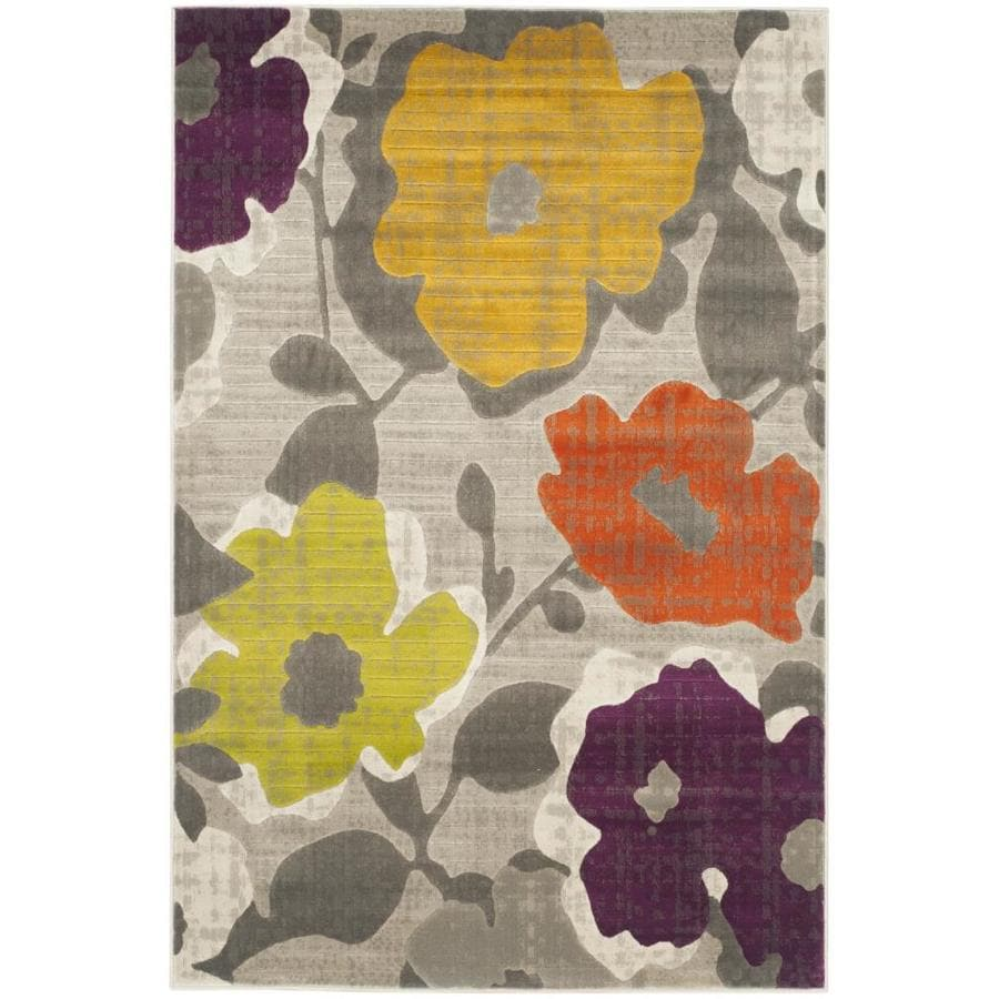 Safavieh Porcello Garland Gray/Yellow Rectangular Indoor Machine-made Nature Area Rug (Common: 4 x 6; Actual: 4.083-ft W x 6-ft L)