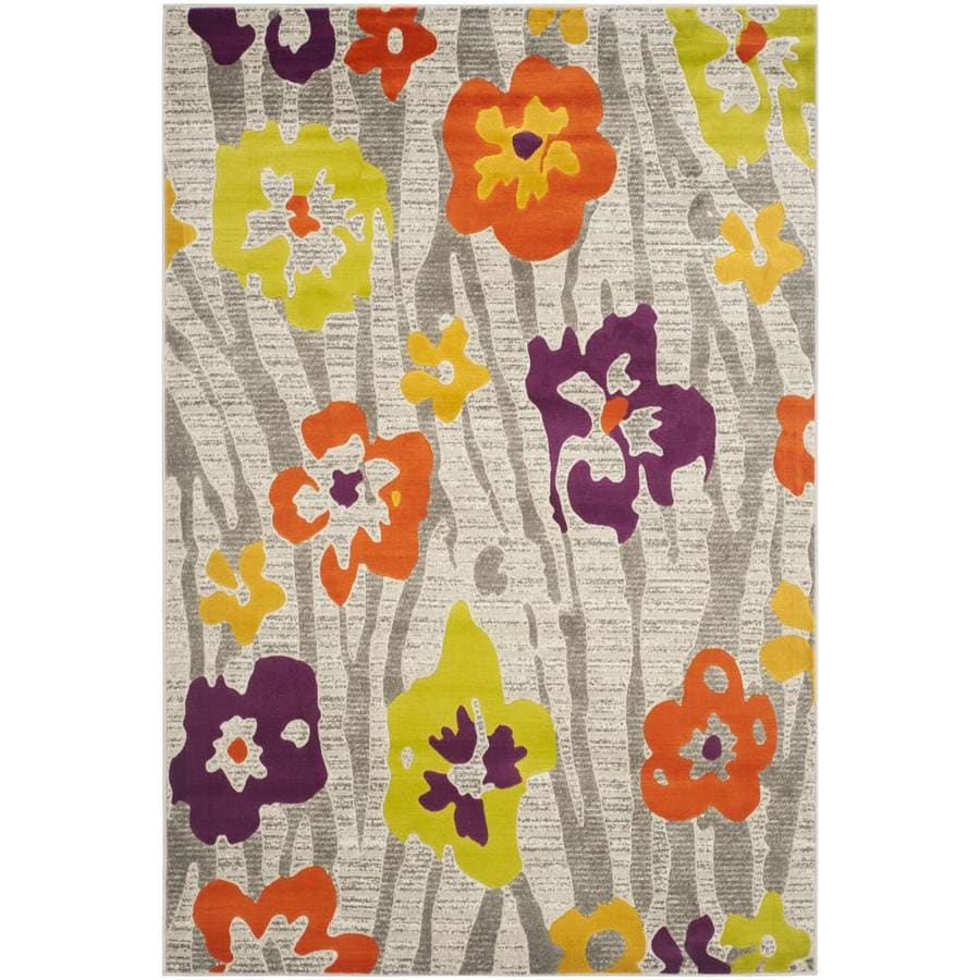 Safavieh Porcello Lillies Gray/Purple Indoor Nature Area Rug (Common: 4 x 6; Actual: 4.1-ft W x 6-ft L)
