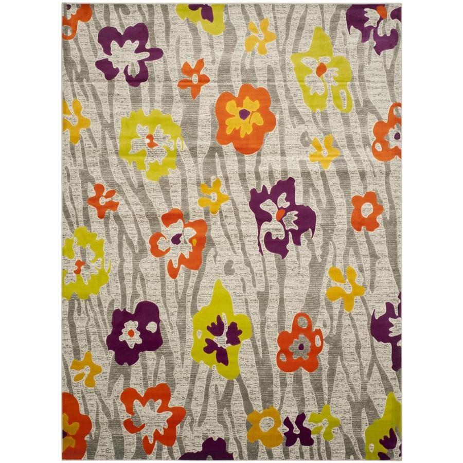 Safavieh Porcello Lillies Gray/Purple Indoor Nature Area Rug (Common: 8 x 11; Actual: 8.2-ft W x 11-ft L)