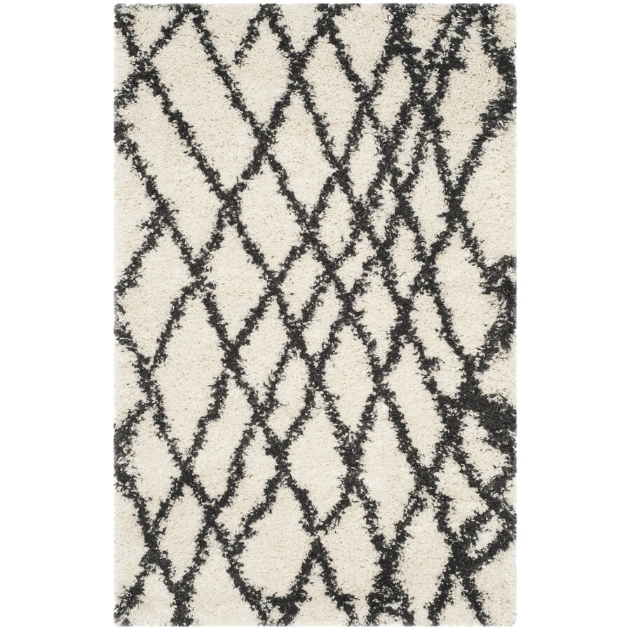 Safavieh Belize Cora Shag Ivory/Charcoal Indoor Moroccan Area Rug (Common: 4 x 6; Actual: 4-ft W x 6-ft L)