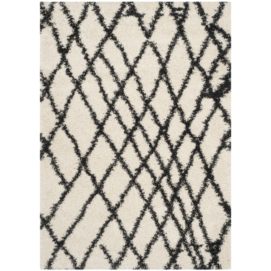 Safavieh Belize Cora Shag Ivory/Charcoal Indoor Moroccan Area Rug (Common: 5 x 8; Actual: 5.1-ft W x 7.5-ft L)