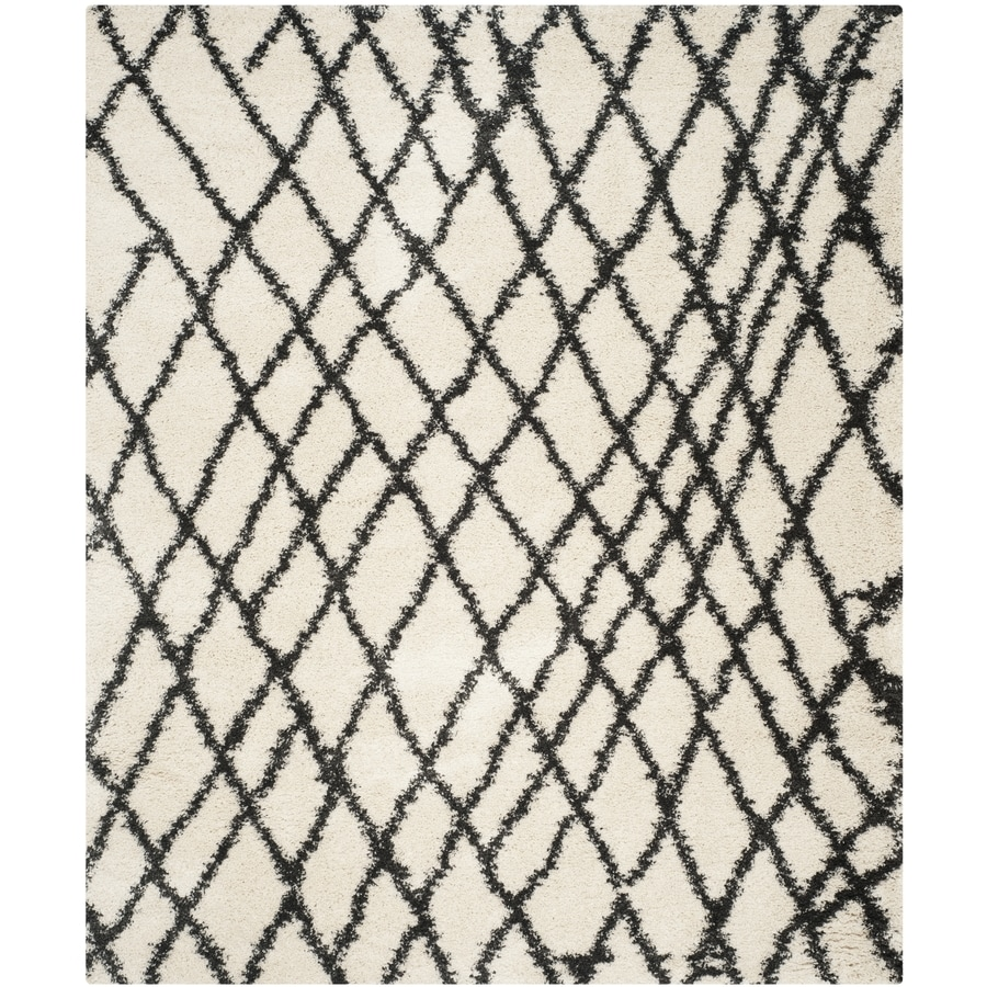 Safavieh Belize Cora Shag Ivory/Charcoal Rectangular Indoor Machine-made Moroccan Area Rug (Common: 8 x 10; Actual: 8-ft W x 10-ft L)