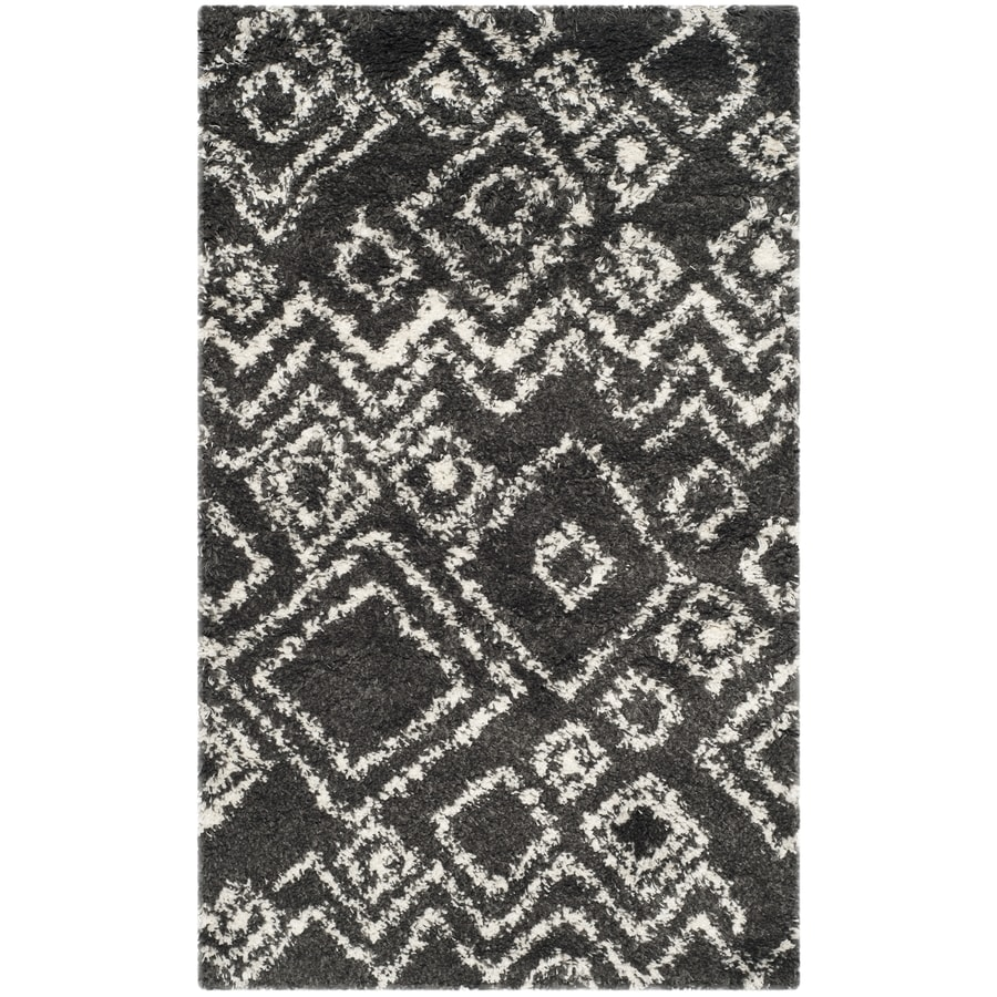 Safavieh Belize Lakin Shag Charcoal/Ivory Rectangular Indoor Machine-made Moroccan Area Rug (Common: 4 x 6; Actual: 4-ft W x 6-ft L)