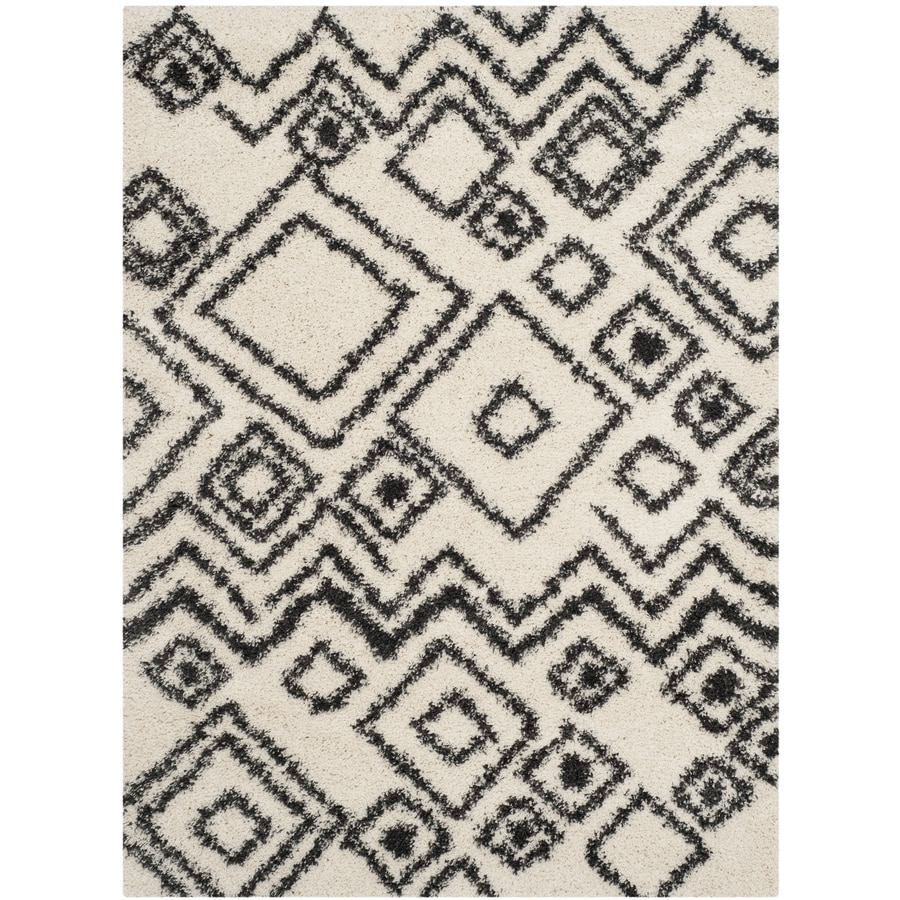Safavieh Belize Lakin Shag Ivory/Charcoal Indoor Moroccan Area Rug (Common: 4 x 6; Actual: 4-ft W x 6-ft L)