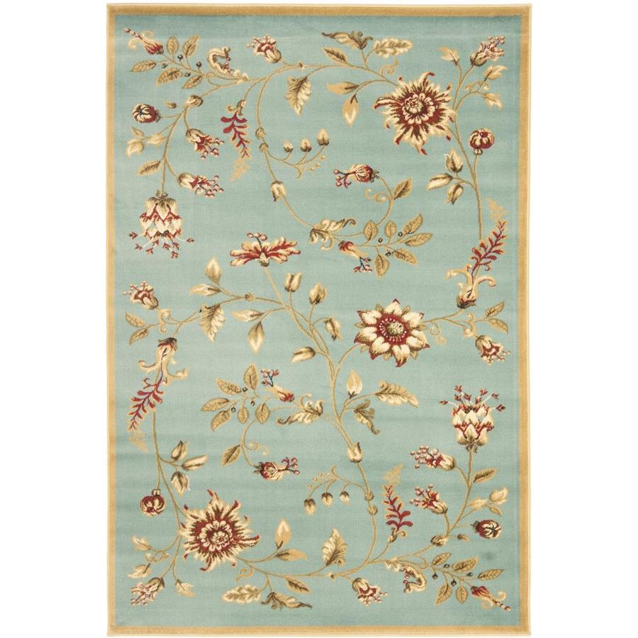 Safavieh Lyndhurst Floral Swirl Blue Indoor Nature Throw Rug (Common: 3 x 5; Actual: 3.25-ft W x 5.25-ft L)