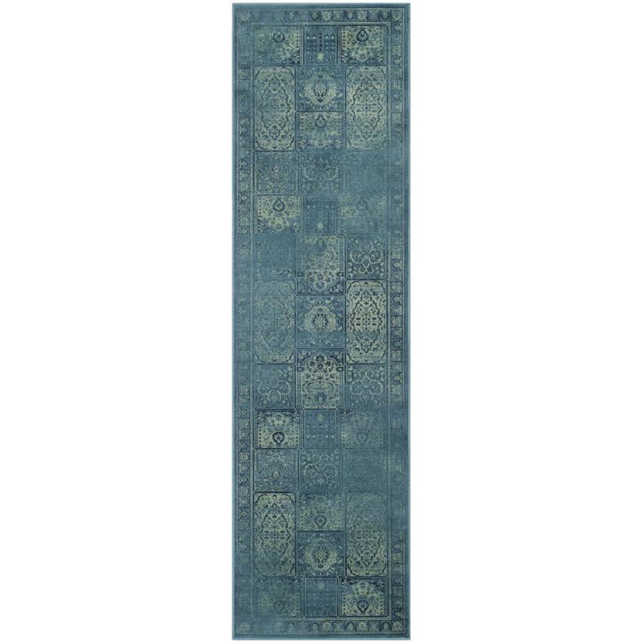Safavieh Vintage Baktiari Turquoise/Multi Rectangular Indoor Machine-made Distressed Runner (Common: 2 x 10; Actual: 2.2-ft W x 10-ft L)