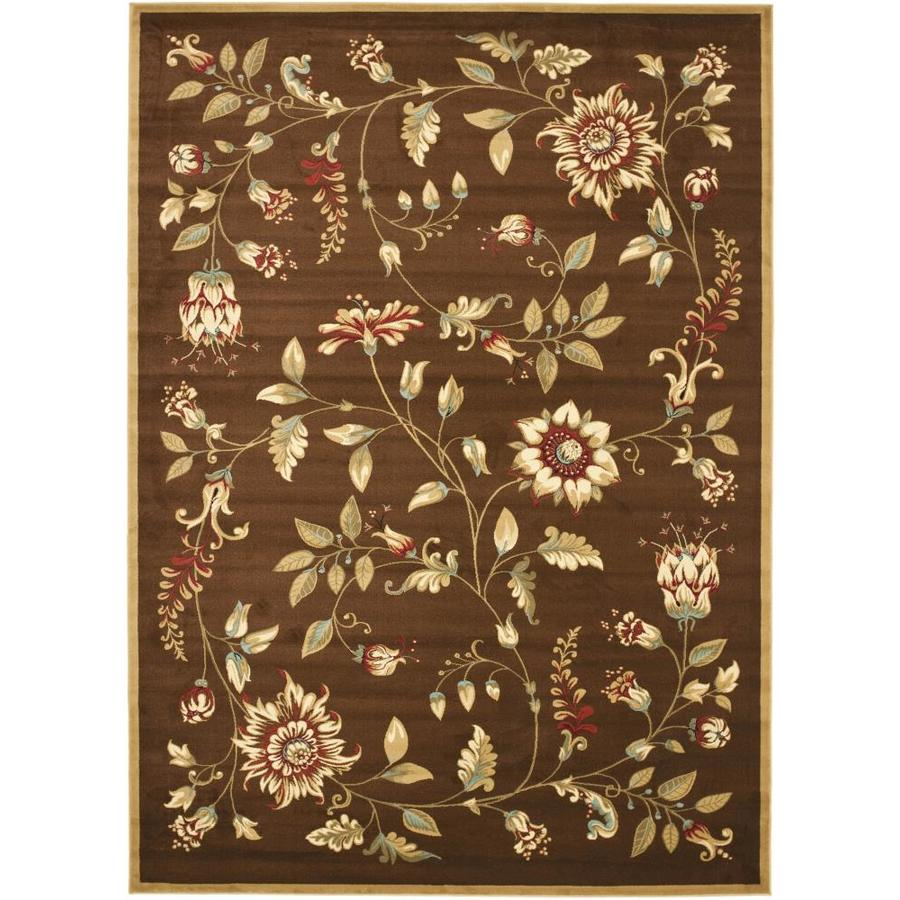 Safavieh Lyndhurst Floral Swirl Brown/Multi Rectangular Indoor Machine-made Nature Area Rug (Common: 9 x 12; Actual: 8.75-ft W x 12-ft L)
