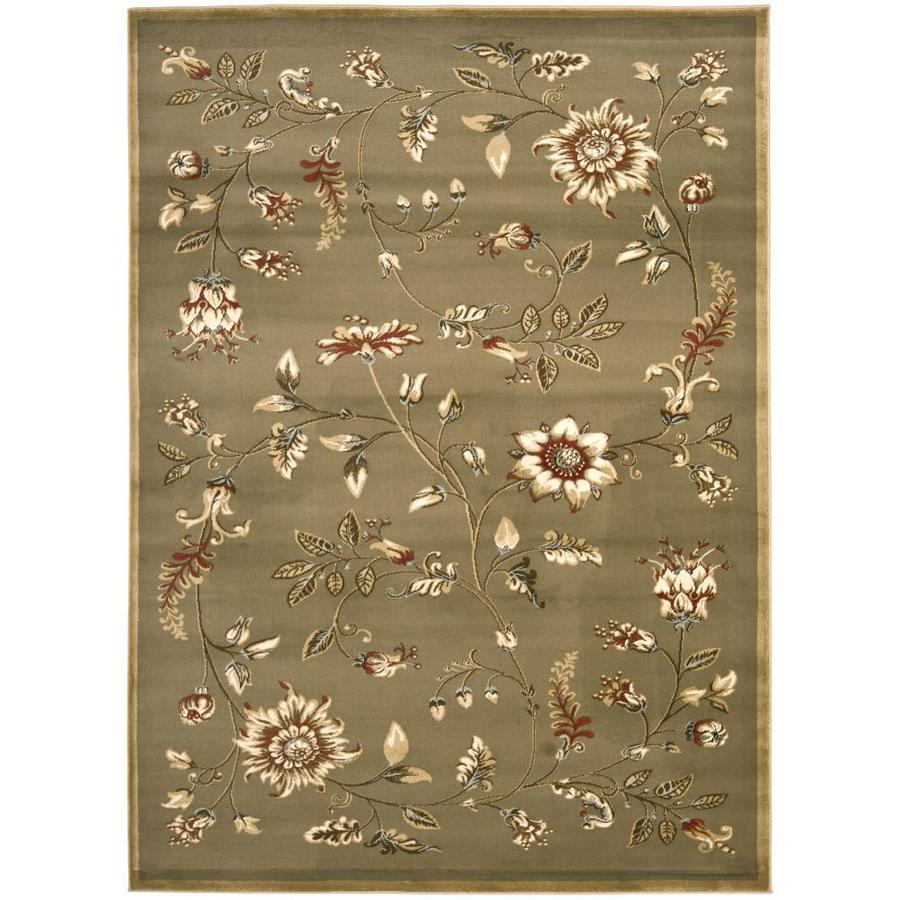 Safavieh Lyndhurst Floral Swirl Green Indoor Nature Throw Rug (Common: 3 x 5; Actual: 3.25-ft W x 5.25-ft L)