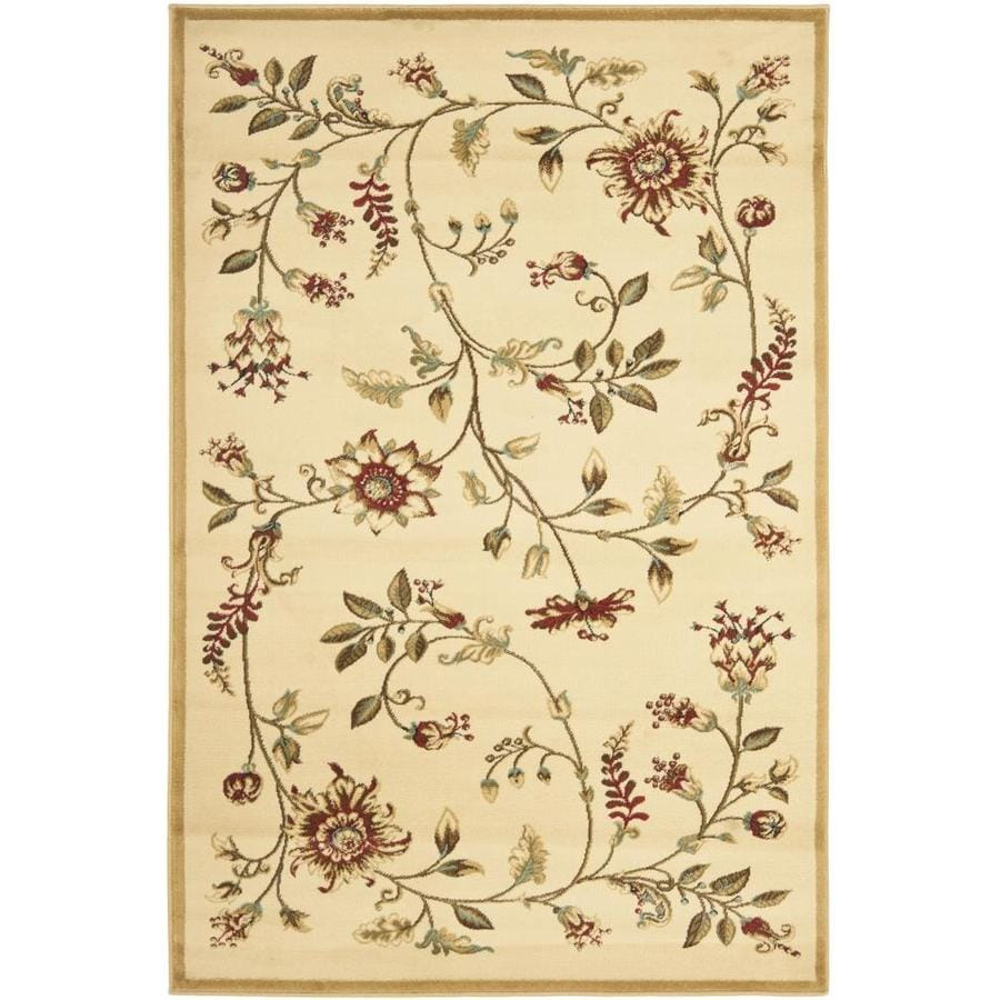 Safavieh Lyndhurst Floral Swirl Ivory Indoor Nature Throw Rug (Common: 3 x 5; Actual: 3.25-ft W x 5.25-ft L)