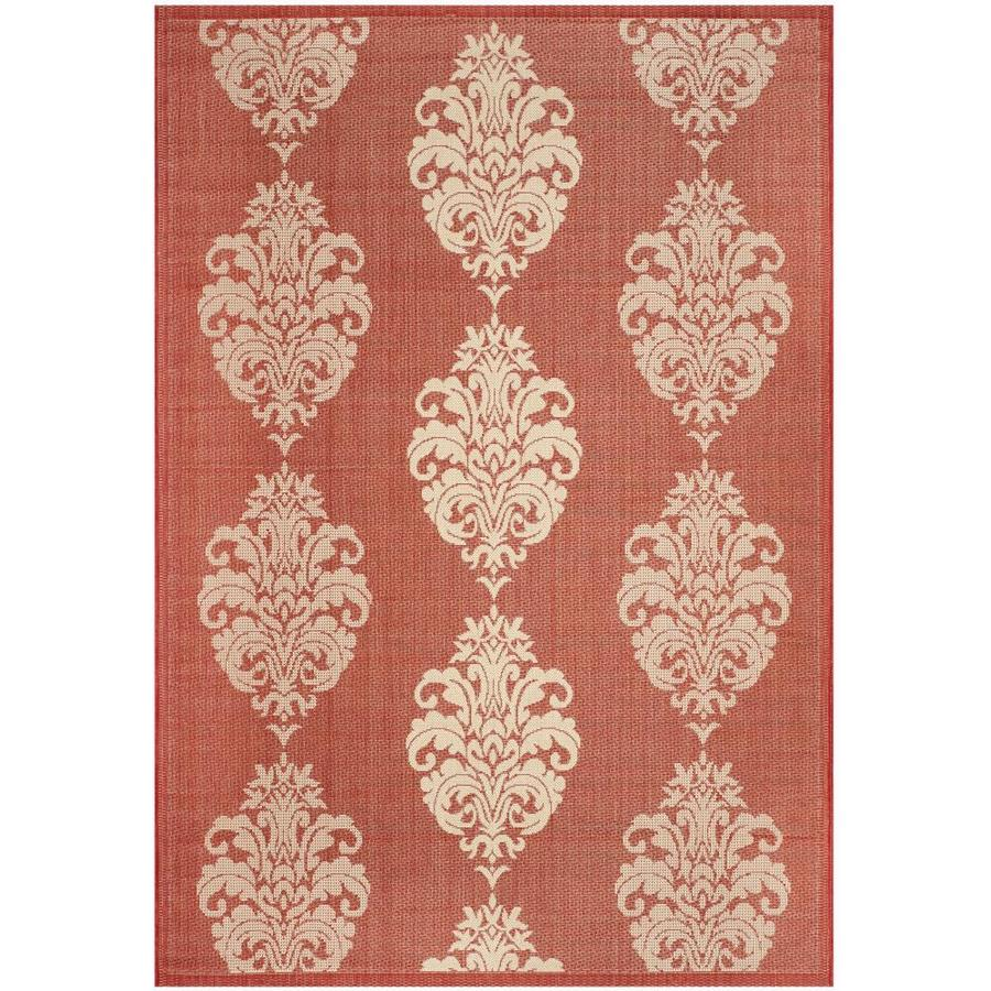 Safavieh Courtyard Red/Natural Rectangular Indoor/Outdoor Machine-Made Coastal Area Rug (Common: 5 x 8; Actual: 5.25-ft W x 7.5833-ft L)