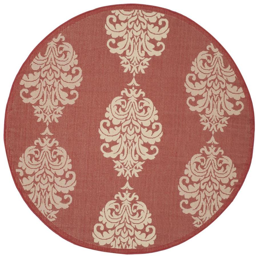 Safavieh Courtyard Bermuda Red/Natural Round Indoor/Outdoor Machine-made Coastal Area Rug (Common: 5 x 5; Actual: 5.25-ft W x 5.25-ft L x 5.25-ft Dia)
