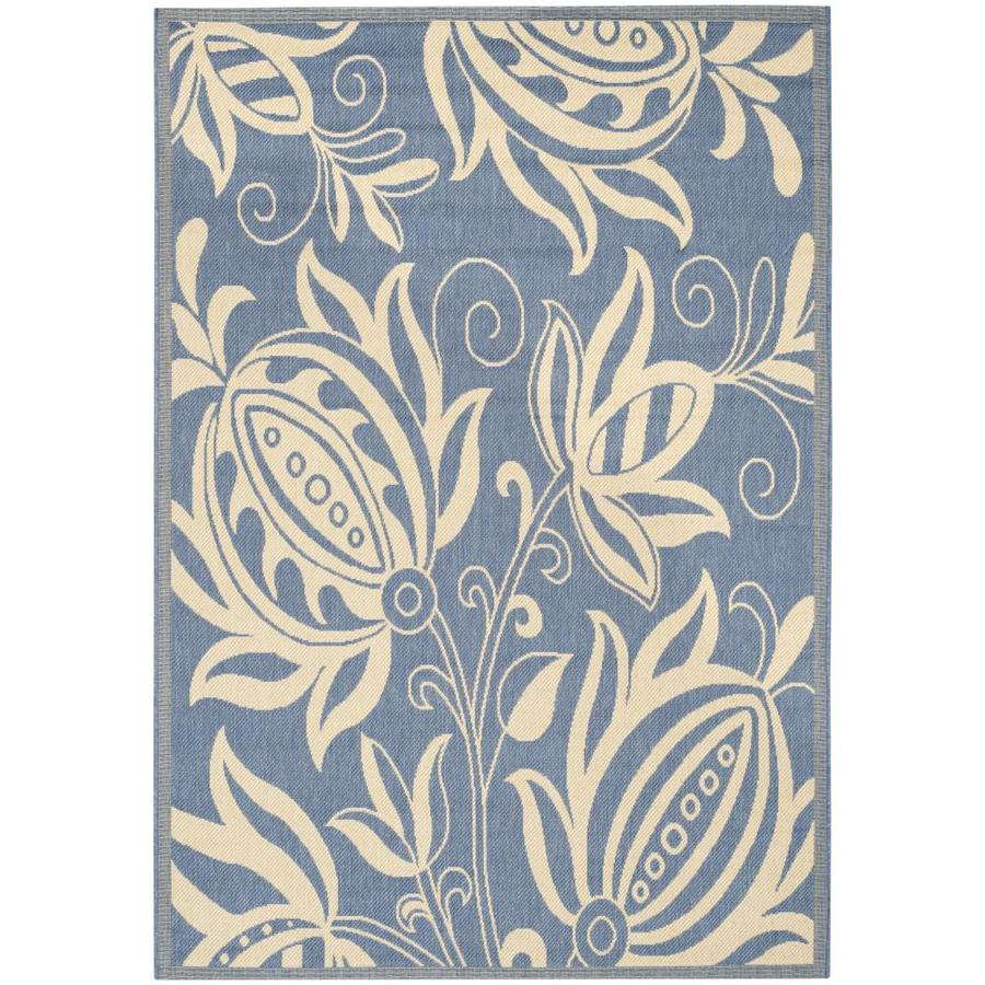 Safavieh Courtyard Blossums Blue/Natural Indoor/Outdoor Coastal Area Rug (Common: 7 x 9; Actual: 6.7-ft W x 9.5-ft L)