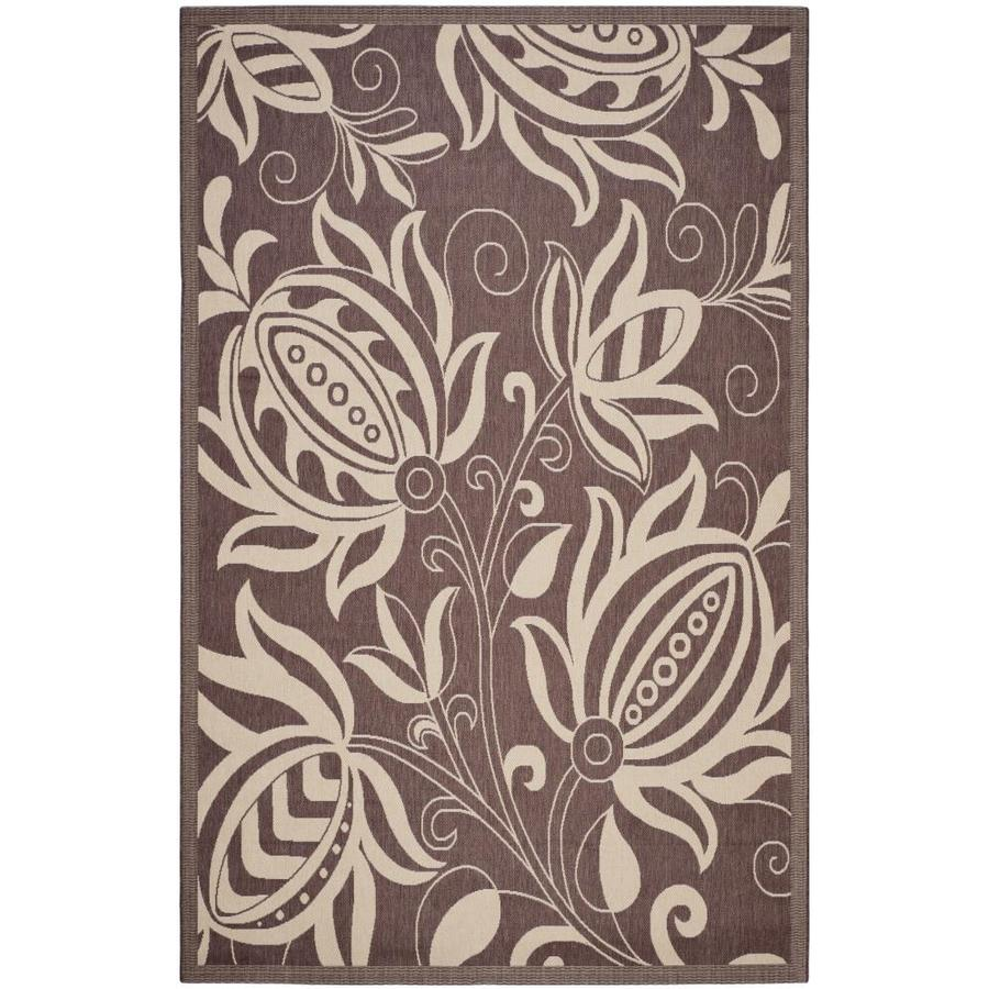 Safavieh Courtyard Chocolate/Natural Rectangular Indoor/Outdoor Machine-Made Coastal Area Rug (Common: 5 x 8; Actual: 5.25-ft W x 7.5833-ft L)