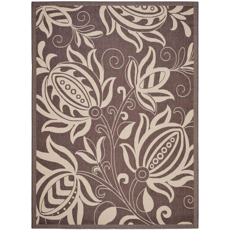 Safavieh Courtyard Blossums Chocolate/Natural Rectangular Indoor/Outdoor Machine-made Coastal Area Rug (Common: 8 X 11; Actual: 8-ft W x 11.16-ft L)