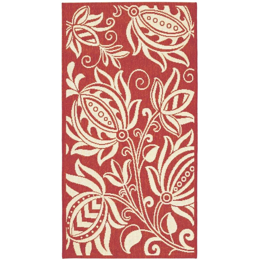 Safavieh Courtyard Blossums Red/Natural Rectangular Indoor/Outdoor Machine-Made Coastal Area Rug (Common: 4 x 5; Actual: 4-ft W x 5.58-ft L)