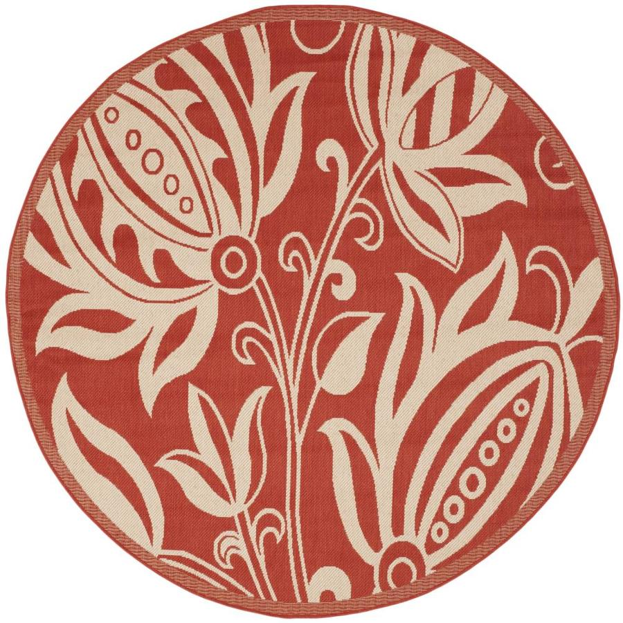 Safavieh Courtyard Blossums Red/Natural Round Indoor/Outdoor Machine-made Coastal Area Rug (Common: 5 x 5; Actual: 5.25-ft W x 5.25-ft L x 5.25-ft Dia)