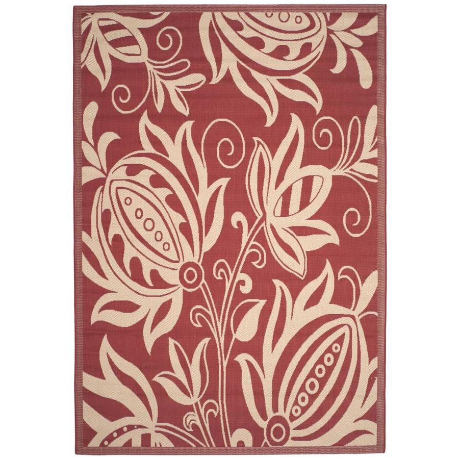Safavieh Courtyard Blossums Red/Natural Rectangular Indoor/Outdoor Machine-made Coastal Area Rug (Common: 6 x 9; Actual: 6.58-ft W x 9.5-ft L)