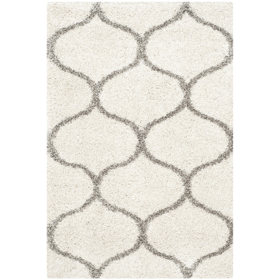 Safavieh Hudson Hathaway Shag Ivory/Gray Indoor Moroccan Area Rug (Common: 4 x 6; Actual: 4-ft W x 6-ft L)