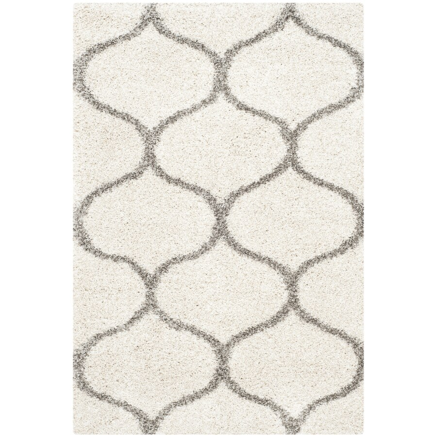 Safavieh Hudson Hathaway Shag Ivory/Gray Rectangular Indoor Machine-made Moroccan Area Rug (Common: 4 x 6; Actual: 4-ft W x 6-ft L)