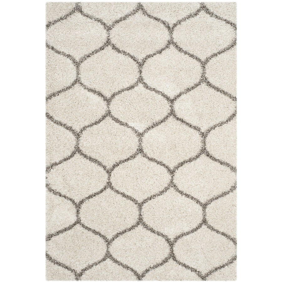 Safavieh Hudson Shag Ivory/Gray Rectangular Indoor Machine-Made Moroccan Area Rug (Common: 5 x 7; Actual: 5.083-ft W x 7.5-ft L)