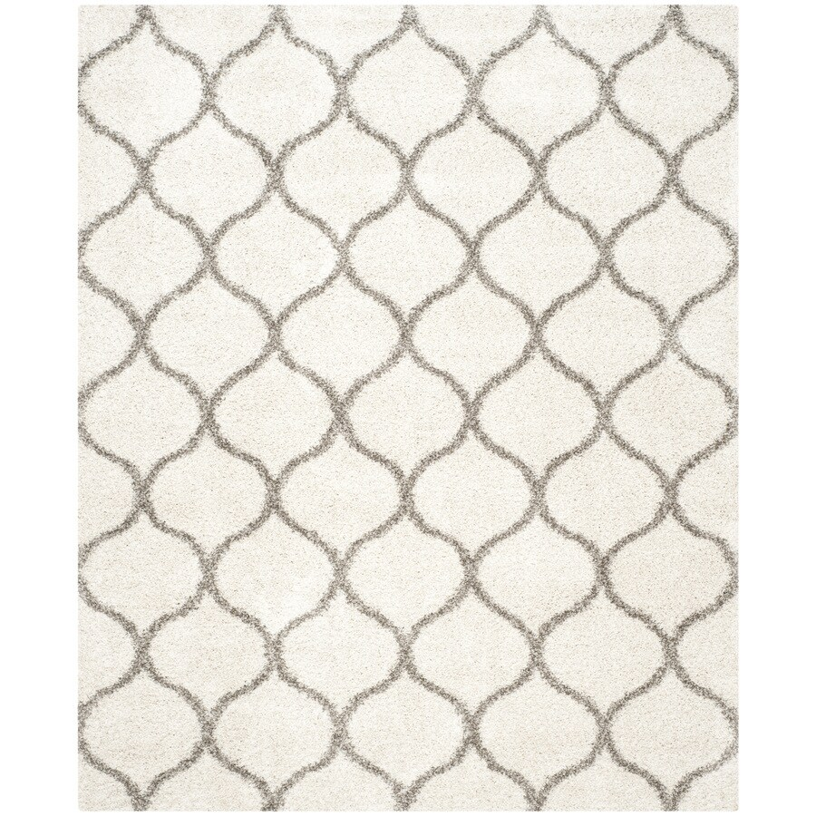 Safavieh Hudson Shag Ivory/Gray Rectangular Indoor Machine-Made Moroccan Area Rug (Common: 8 x 10; Actual: 8-ft W x 10-ft L)