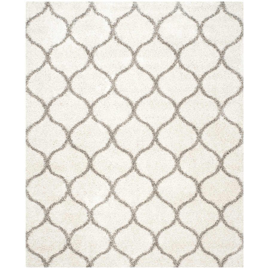 Safavieh Hudson Hathaway Shag Ivory/Gray Rectangular Indoor Machine-made Moroccan Area Rug (Common: 9 x 12; Actual: 9-ft W x 12-ft L)