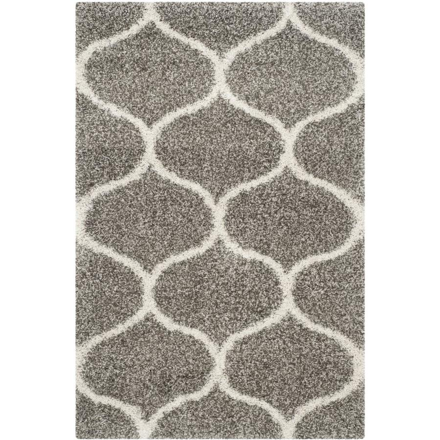 Safavieh Hudson Hathaway Shag Gray/Ivory Rectangular Indoor Machine-made Moroccan Area Rug (Common: 4 x 6; Actual: 4-ft W x 6-ft L)