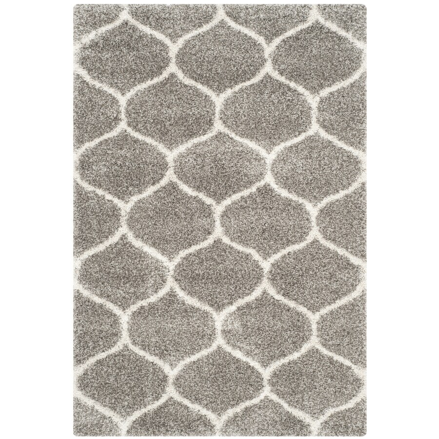 Safavieh Hudson Hathaway Shag Gray/Ivory Rectangular Indoor Machine-made Moroccan Area Rug (Common: 5 x 7; Actual: 5.1-ft W x 7.5-ft L)