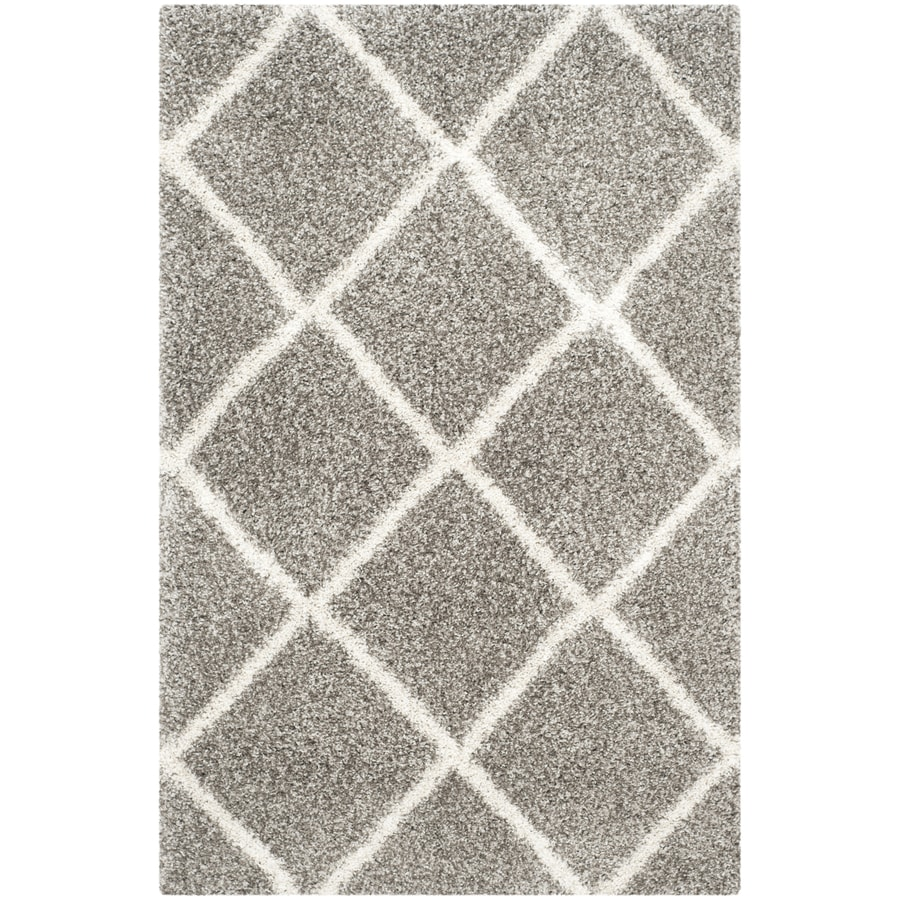 Safavieh Hudson Beckham Shag Gray/Ivory Rectangular Indoor Machine-made Moroccan Area Rug (Common: 4 x 6; Actual: 4-ft W x 6-ft L)