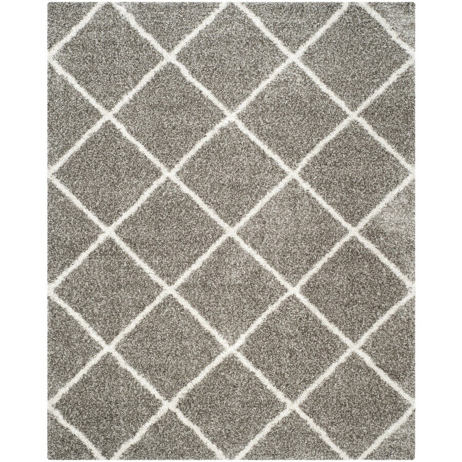 Safavieh Hudson Shag Gray/Ivory Rectangular Indoor Machine-Made Moroccan Area Rug (Common: 8 x 10; Actual: 8-ft W x 10-ft L x 0-ft Dia)