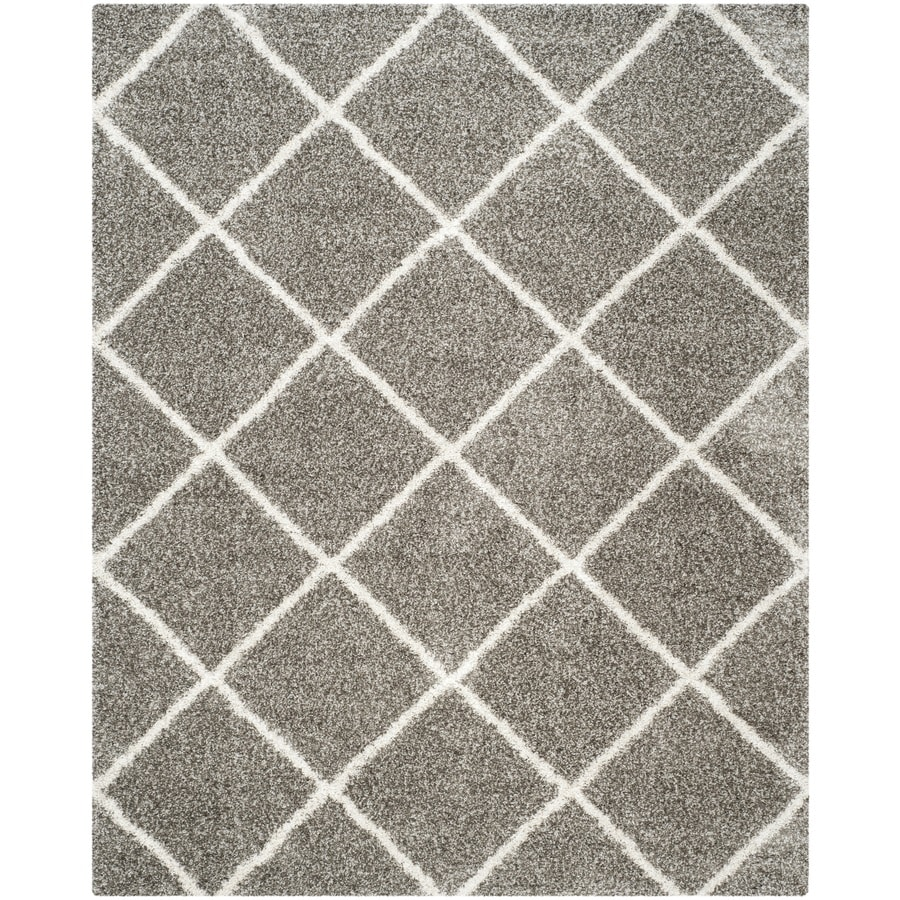 Safavieh Hudson Beckham Shag Gray/Ivory Indoor Moroccan Area Rug (Common: 8 x 10; Actual: 8-ft W x 10-ft L)