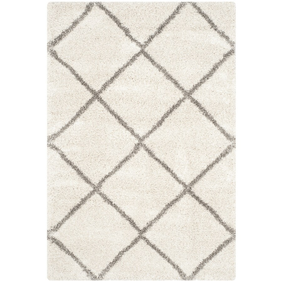 Safavieh Hudson Beckham Shag Ivory/Gray Rectangular Indoor Machine-made Moroccan Area Rug (Common: 4 x 6; Actual: 4-ft W x 6-ft L)